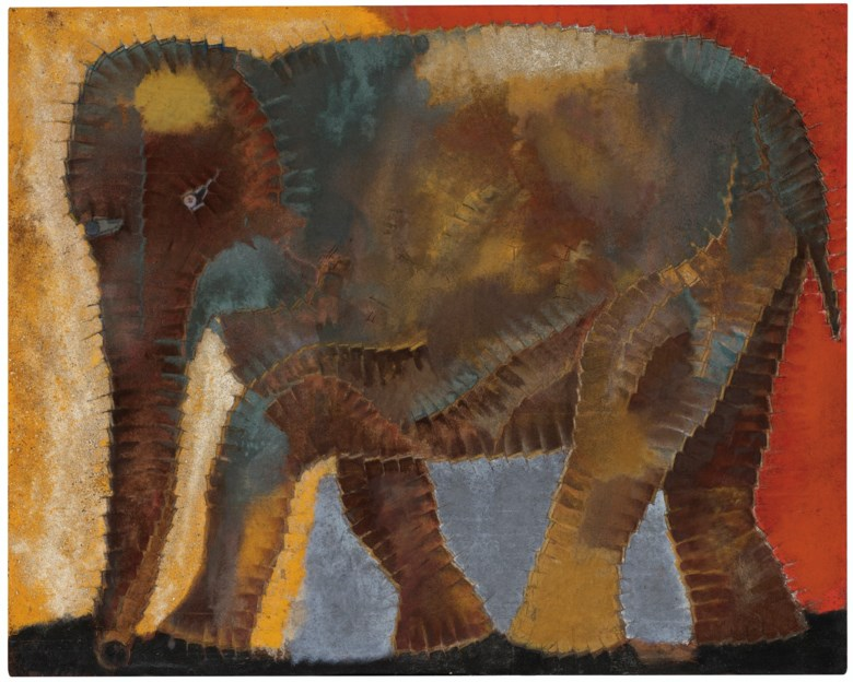 Francisco Toledo (1940-2019), El elefante, 1978. Oil and sand on canvas. 48 x 60  in (121.9 x 152.4  cm). Estimate $800,000-1,200,000. Offered in Latin American Art on 20-21 November 2019 at Christie's in New York