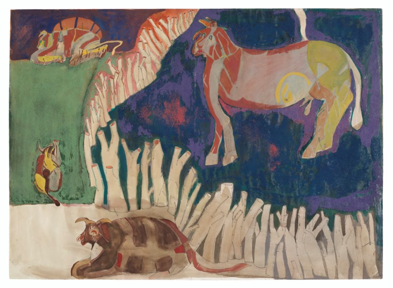 Francisco Toledo (1940-2019), Corral, 1965. Gouache, sand, pen and ink on paper. 18¾ x 25⅞  in (47.6 x 65.6  cm). Estimate $15,000-20,000. Offered in Latin American Art on 20-21 November 2019 at Christie's in New York