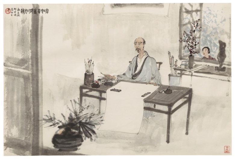 Fu Baoshi (China, 1904-1965), Lithe Like a Crane, Leisurely Like a Seagull. Scroll, mounted and framed, ink and colour on paper. 17¾ x 26⅝ in (45.2 x 67.8 cm). Sold for $1,815,000 on 20 March 2019 at Christie's in New York
