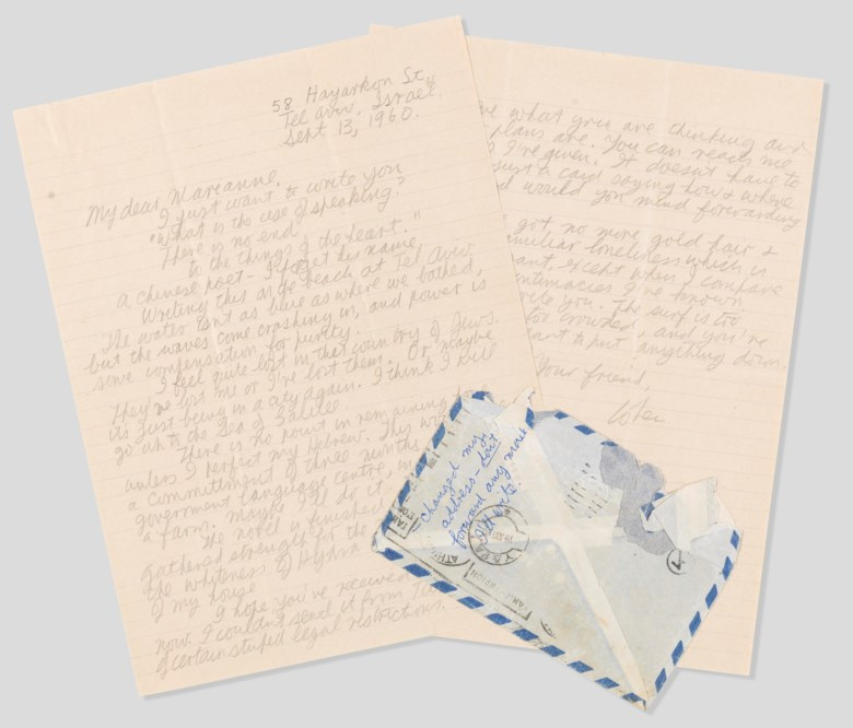 Leonard Cohen (1934-2016),From Tel Aviv with love,Tel Aviv, 13 September 1960. Autographed letter signed ('Cohen') to Marianne Ihlen. Sold for $20,000 inWrite Me and Tell Me Your Heart Leonard Cohen's Letters to Marianne, 5-13 June 2019, Online