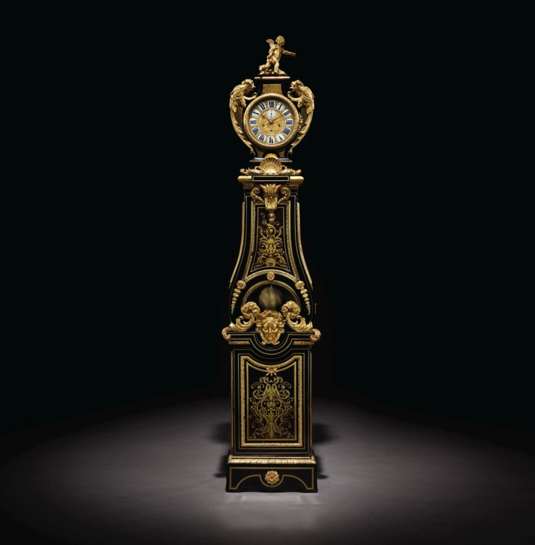 A Louis XIV ormolu-mounted tortoiseshell and brass-inlaid ebony and ebonized régulateur de parquet.Attributed to André-Charles Boulle, circa 1710. 94 in (238.8 cm) high, 20¼ in (51.4 cm) wide, 10½ in (26.7 cm) deep. Sold for $200,000on 29 October 2019 at Christie's in New York