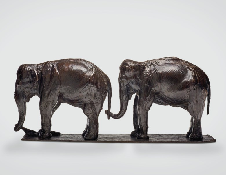 Rembrandt Bugatti (1884-1916), Deux éléphants, lun derrière lautre, conceived circa 1912, cast by 1924. 11⅜ x 27 ½ x 5 ½  in (29 x 70 x 14  cm). Estimate $600,000-800,000. Offered in La Ménagerie on 12 November 2019 at Christie's in New York