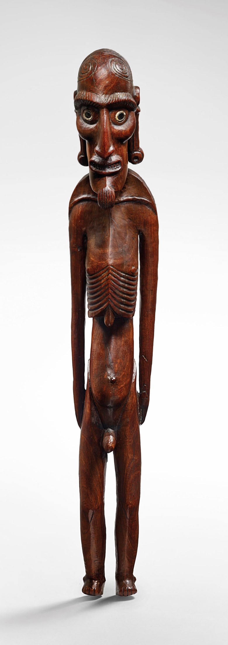 The Hooper Moai Kavakava figure, Rapa Nui, Easter Island, Polynesia. Height 17⅜ in (44  cm). Sold for €850,000on 10 April 2019 at Christie's in Paris