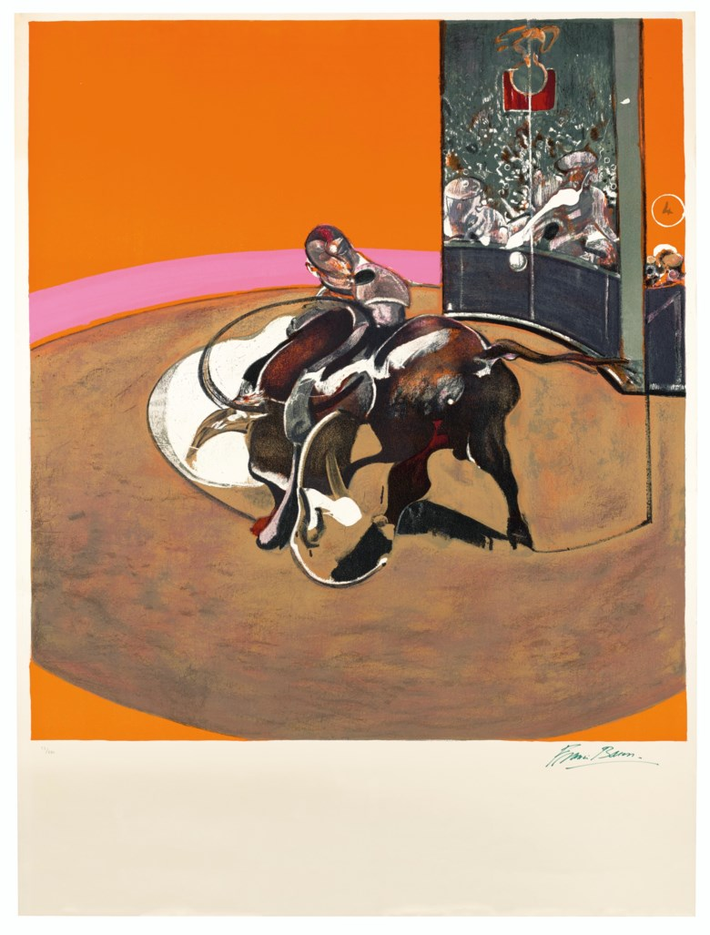 Francis Bacon (1909-1992), Étude pour une corrida, 1971. Lithograph in colours.Image 1263 x 1150  mm, Sheet 1600 x 1200  mm. Estimate £40,000-60,000. Offered in Prints & Multiples on 18 March 2020 at Christie's in London