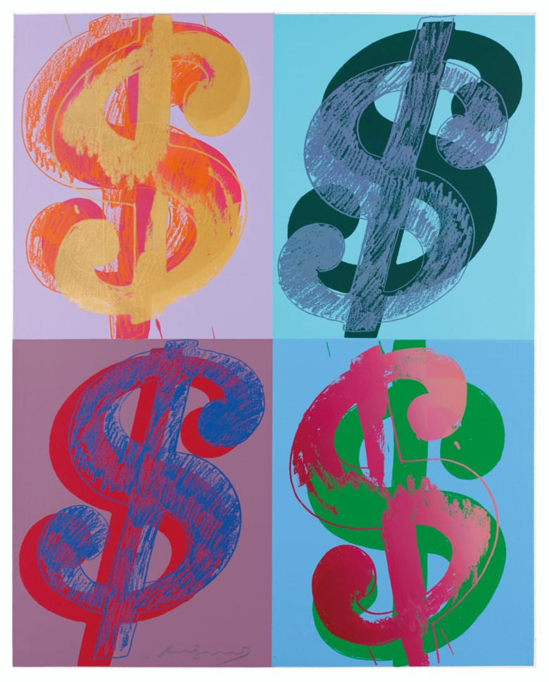 Andy Warhol (1928-1987), $ (Quadrant), 1982.Unique screenprint in colours on Lenox Museum Board, signed in pencil, numbered 1160, 40 x 32 in (101.5 x 81.5 cm). Estimate £70,000-100,000. Offered in Prints & Multiples on 18 March 2020 at Christie's in London