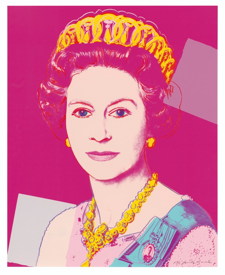 Andy Warhol (1928-1987), Queen Elizabeth II, from Reigning Queens (Royal Edition), 1985. Screenprint in colours with diamond dust on Lenox Museum Board, signed in pencil, numbered R230. 39¼ x 31½ in (100 x 80 cm). Estimate £100,000-150,000. Offered in Prints & Multiples on 18 March 2020 at Christie's in London