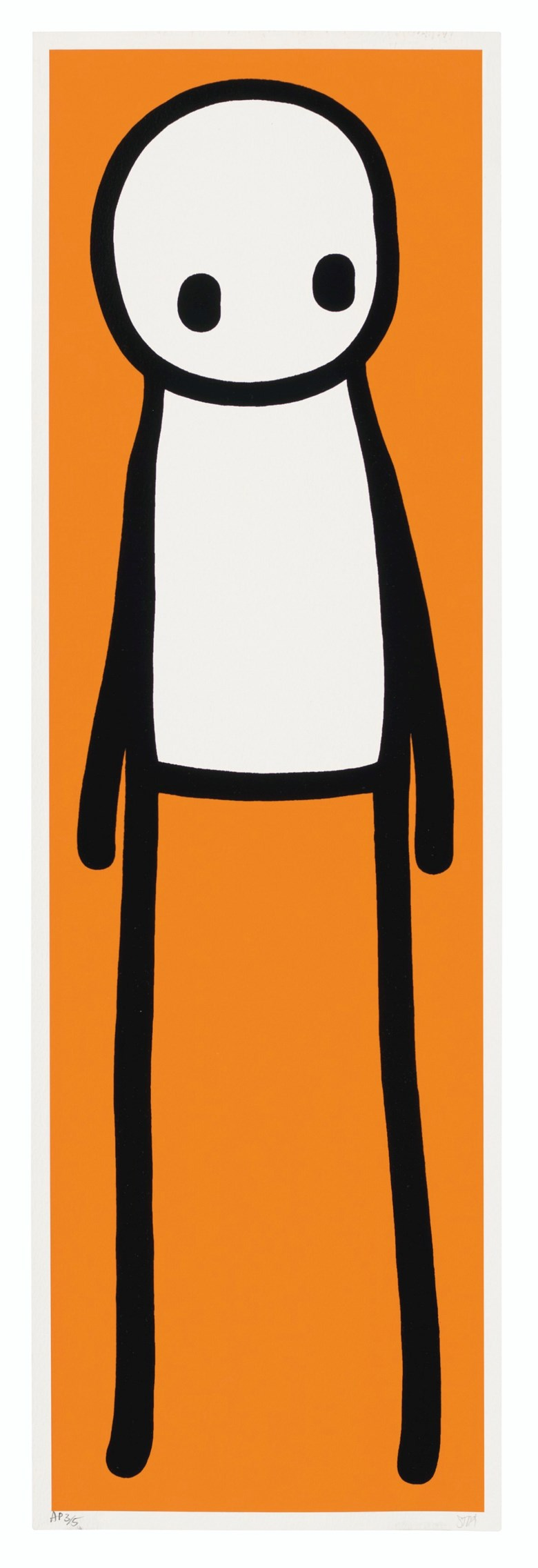 STIK (b. 1979), Book deluxe edition (Orange),2015. Screenprint in glossy black enamel with Giclée in orange.Image 740 x 220  mm, Sheet 758 x 240  mm. Estimate £20,000-30,000. Offered in Prints & Multiples on 18 March 2020 at Christie's in London