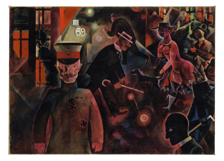 George Grosz (1893-1959), Gefährliche Straße, painted in July 1918. Oil on canvas. 18⅝ x 25¾  in (47.3 x 65.3  cm). Sold for £9,740,250on 5 February 2020 at Christie's in London