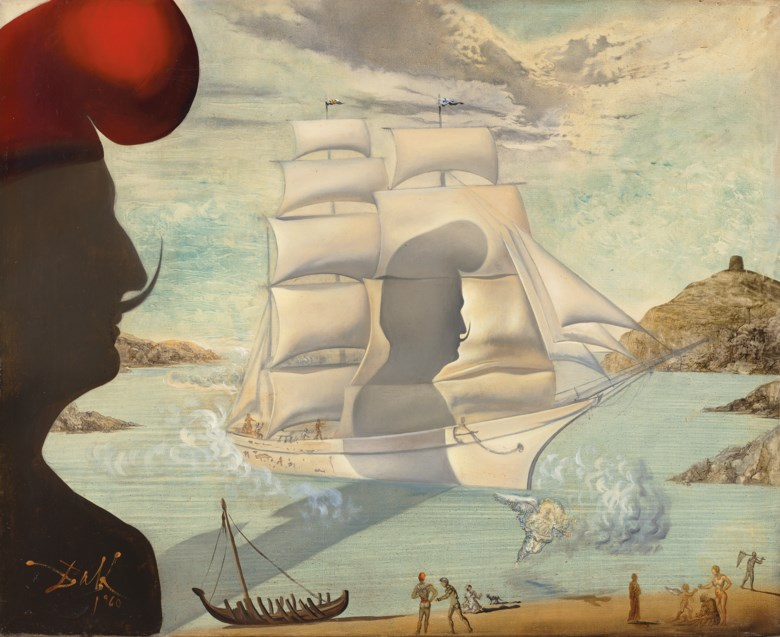 Salvador Dalí (1904-1989), Sans titre, bateau à voiles dans la baie de Port Lligat, executed in 1960. Oil on canvas. 11⅜ x 12⅞  in (28.8 x 32.8  cm). Sold for £1,811,250on 5 February 2020 at Christie's in London