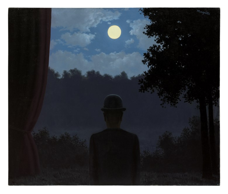 René Magritte (1898-1967), A la rencontre du plaisir, painted in 1962. Oil on canvas. 18⅛ x 21⅝  in (46 x 55  cm). Sold for £18,933,750on 5 February 2020 at Christie's in London