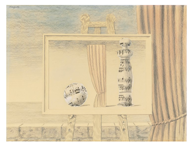 René Magritte (1898–1967), Sans titre (La partition), executed in 1961 or 1962. Pencil, watercolour and collage on paper.11¾ x 15⅞  in (30 x 40.1  cm). Estimate £350,000-550,000. Offered in The Art Of The Surreal Evening Sale on 5 February 2020 at Christie's in London