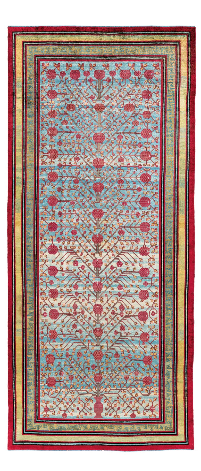 A silk Yarkand carpet, east Turkestan, first half 19th century. 11 ft 8 in x 5 ft 1 in (359 cm x 154 cm). Estimate £50,000-70,000. Offered in Art of the Islamic and Indian Worlds Including Oriental Rugs and Carpets on 2 April 2020 at Christie's in London