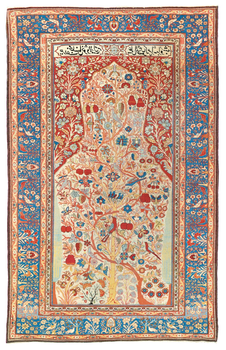 A Kashan Mohtasham prayer rug, central Persia, circa 1890. 6 ft 7 in x 4 ft 4 in (204 cm x 133 cm). Estimate £8,000-12,000. Offered in Art of the Islamic and Indian Worlds Including Oriental Rugs and Carpets on 2 April 2020 at Christie's in London