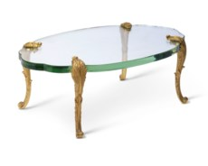 A FRENCH ORMOLU AND GLASS LOW