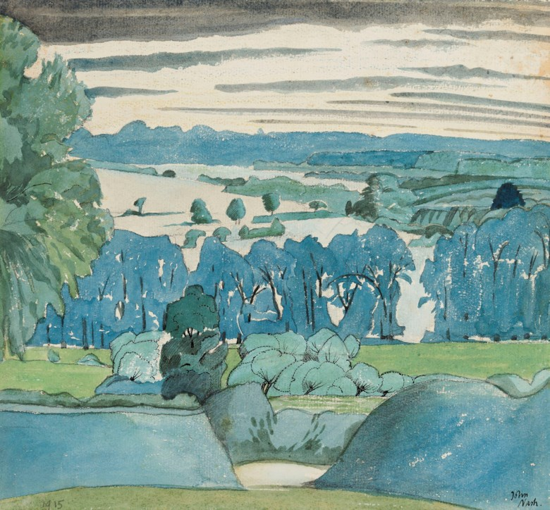 John Nash, R.A. (1893-1977), Misbourne Valley, Chalfont St. Peter, 1915. Pencil, watercolour, chalk and ink on paper.10 x 10 ¾  in (25.4 x 27.3  cm). Estimate £25,000-35,000. Offered in The Delighted Eye Works from the Collection of Allen and Beryl Freer on 23 January 2020 at Christie's in London