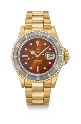 ROLEX A VERY RARE AND FINE 18K GOLD AUTOMATIC WRISTWATCH WIT