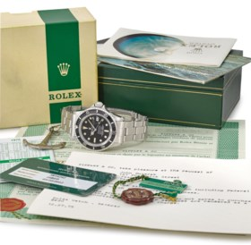 ROLEX A VERY RARE STAINLESS STEEL AUTOMATIC WRISTWATCH WITH