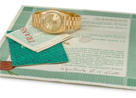 ROLEX A VERY RARE AND FINE 18K PINK GOLD AUTOMATIC WRISTATCH