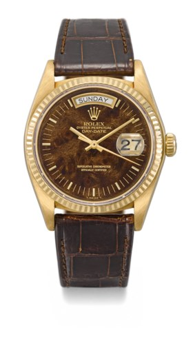 ROLEX A VERY FINE AND RARE 18K GOLD AUTOMATIC WRISTWATCH WIT