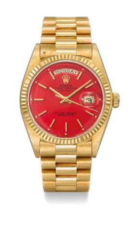 ROLEX A VERY RARE AND ATTRACTIVE 18K GOLD AUTOMATIC WRISTWAT