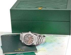 ROLEX A VERY FINE AND RARE PLATINUM AUTOMATIC WRISTWATCH WIT