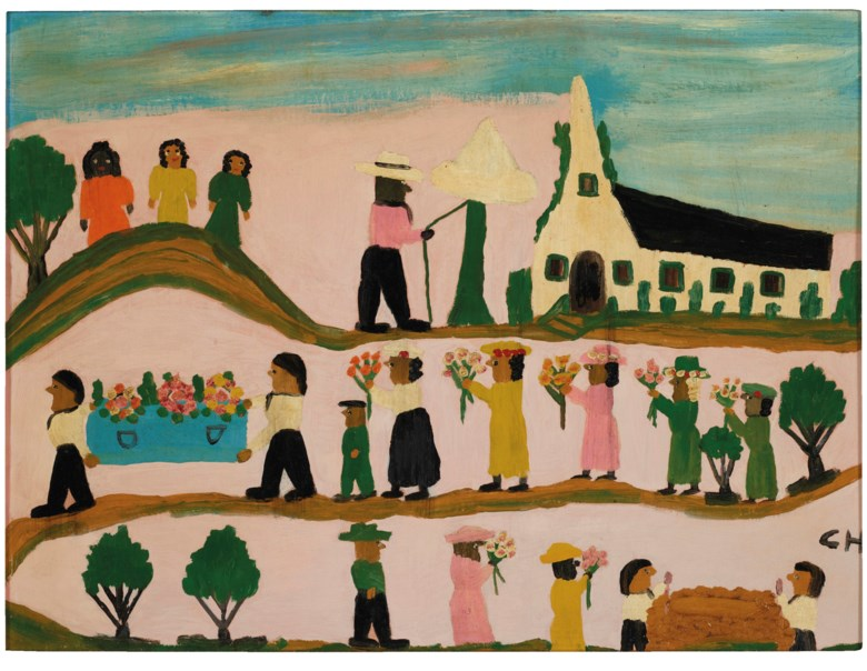 Clementine Hunter (1887-1988), Funeral, 1957. Oil on paperboard. 18 x 23¾ in. Estimate $5,000-10,000. Offered in Outsider Art on 17 January 2020 at Christie's in New York