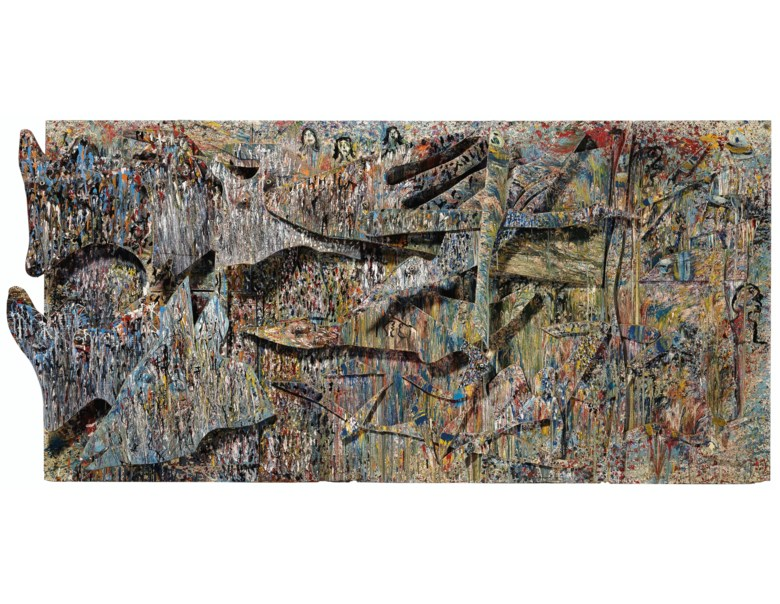 Thornton Dial (1928-2016), The Beginning of the World, 1988-1989. Mixed media on plywood. 48 x 100 in. Estimate $20,000-40,000. Offered in Outsider Art on 17 January 2020 at Christie's in New York