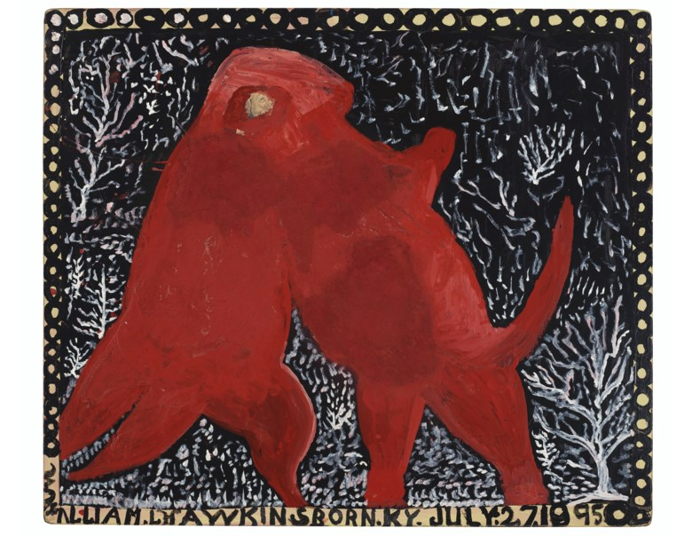 William Hawkins (1895-1990), Two Dinosaurs Wrestling, 1989. Enamel, cornmeal and collage on Masonite. 48 x 56½ in. Estimate $30,000-50,000. Offered in Outsider Art on 17 January 2020 at Christie's in New York