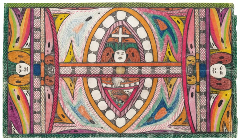 Adolf Wölfli (1864-1930), MaggingenLembinger, double sided, 1927. Coloured pencil and graphite on paper. 11⅜ x 20⅜ in. Estimate $20,000-30,000. Offered in Outsider Art on 17 January 2020 at Christie's in New York