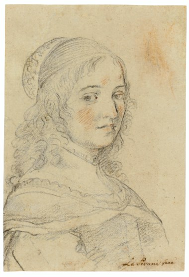 Elisabetta Sirani (1638-1665), Self-portrait. Black and red chalk. 9 x 6⅛  in (22.9 x 15.5 cm). Estimate $5,000-7,000. Offered in Old Master & British Drawings Including Works from the Collection of Jean Bonna on 28 January 2020 at Christie's in New York