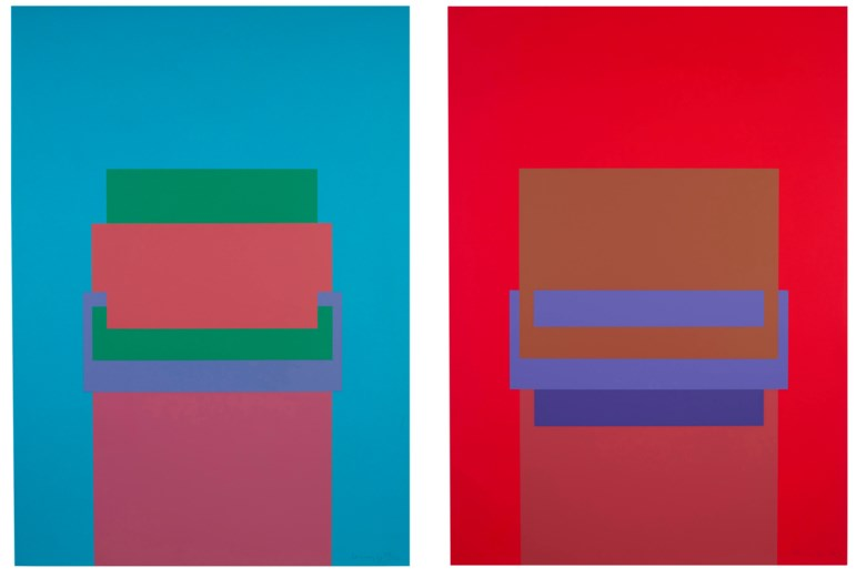 Robyn Denny (1930-2014), Two Screenprints (RDe 1 & 2), 1970. Two screenprints in colours, on heavy wove paper. Each sheet 28¾ x 20½ in (730 x 521 mm). Estimate $1,500-2,000. Offered in Domberger 65 years of Screen Printing, 27 February to 6 March 2020, Online