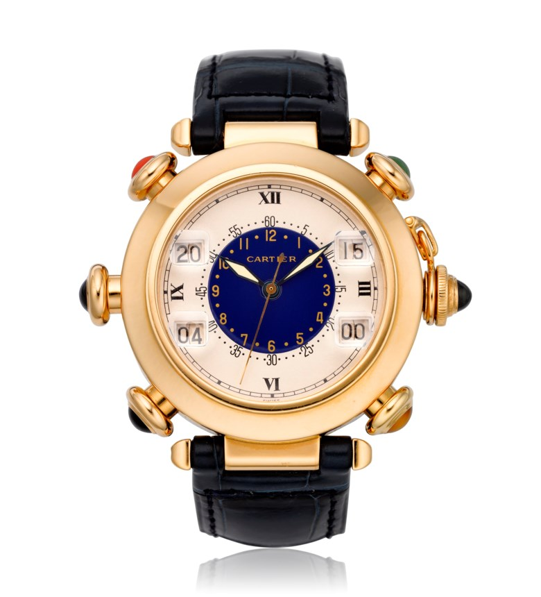 Cartier, Pasha Golf, 18k gold, ref. 30010. Diameter 38 mm. Estimate $12,000-18,000. Offered in  Watches Online, 25 February to 10 March 2020, Online