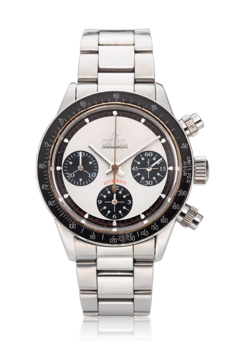 Gevril, Tribecca, 'Paul Newman' limited edition no. 203500. Diameter 37 mm. Estimate $4,000-6,000. Offered in  Watches Online, 25 February to 10 March 2020, Online