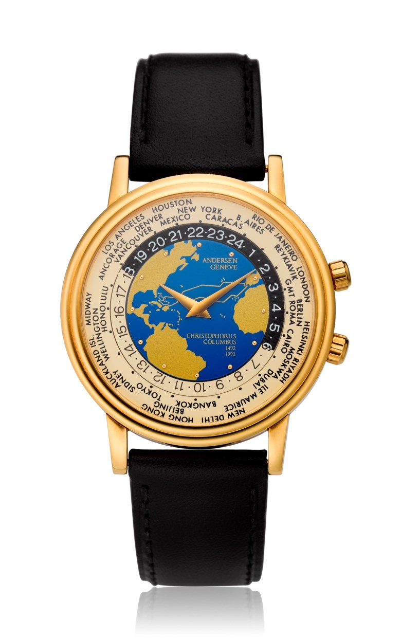 Andersen Geneve, World Time, 18k gold, Christopher Columbus 500th anniversary, no. 096 of 500. Diameter 35 mm. Estimate $2,500-3,500. Offered in  Watches Online, 25 February to 10 March 2020, Online