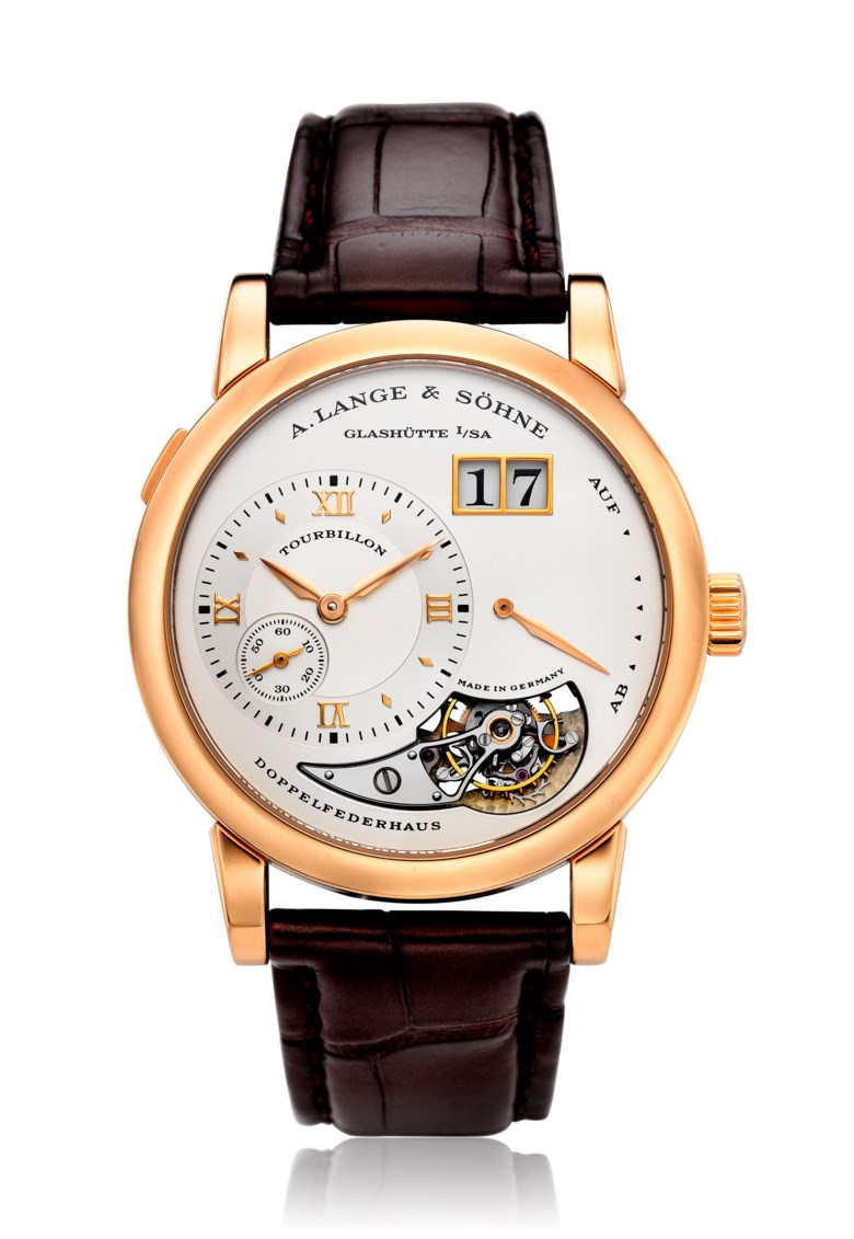 A. Lange & Söhne, Lange 1 Tourbillon, 18k pink gold, ref. 704.032, limited edition no. 51 of 250. Diameter 38.5 mm. Estimate $60,000-80,000. Offered in  Watches Online, 25 February to 10 March 2020, Online