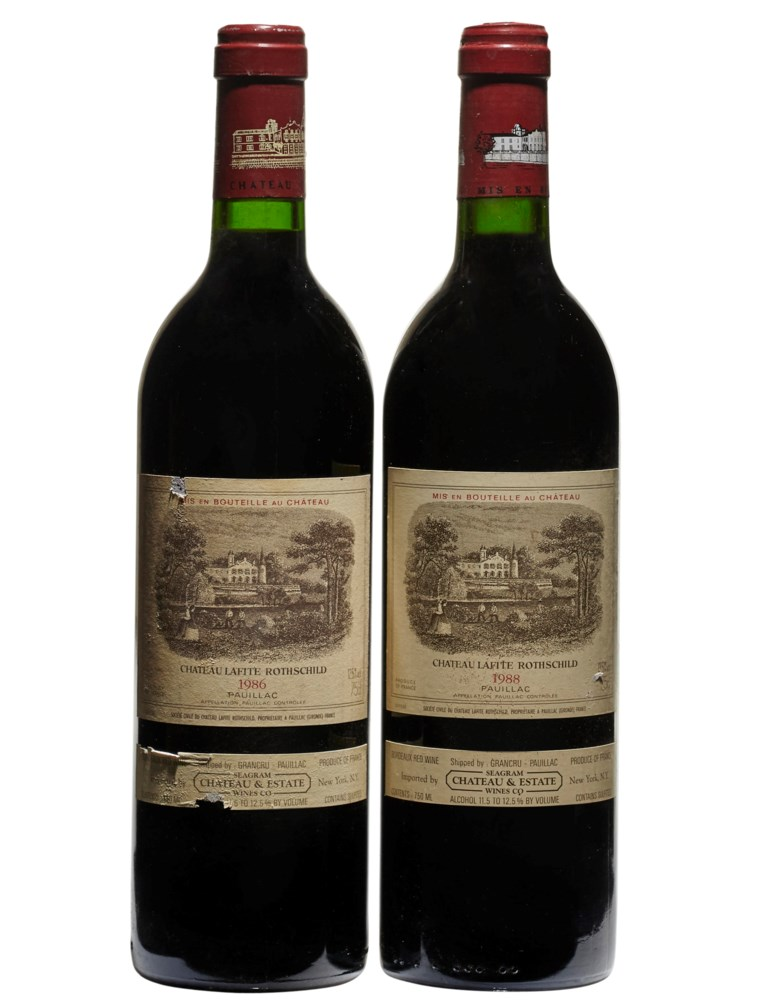 Château Lafite-Rothschild 1986 & 1988. 2 bottles per lot. Estimate $1,200-1,800. Offered in Wine Online, 24 March to 7 April 2020, Online