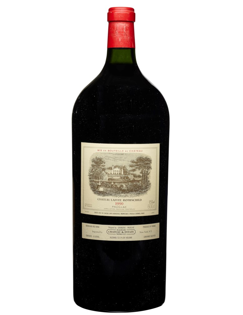 Château Lafite-Rothschild 1990, Pauillac, 1er cru classé. 1 imperialper lot. Good appearance, slightly damaged capsule. Level base of neck In original wooden case, no top lid. Estimate $5,500-7,500. Offered in Wine Online, 24 March to 7 April 2020, Online