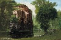 Bords de la Loue avec rochers à gauche