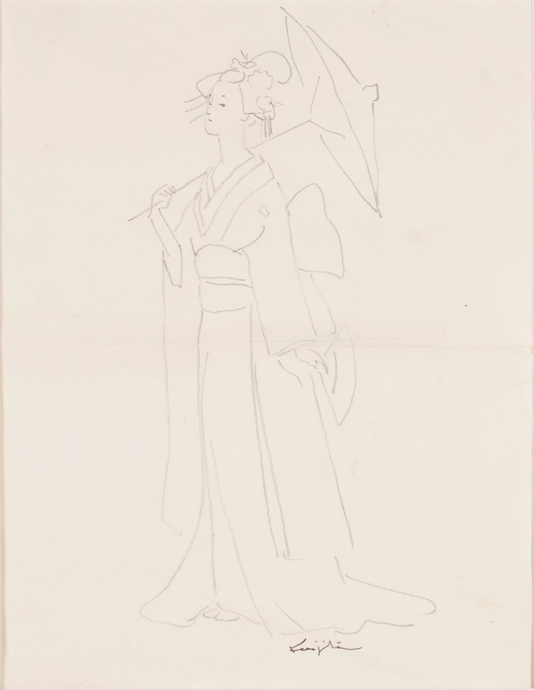 Léonard Tsuguharu Foujita (1886-1968), Untitled (Madame Butterfly). Lead on tracing paper.26.5 x 20.5 cm (10⅜ x 8⅛ in). Estimate $1,000-2,000 Offered in  Contemporary Art Asia, Online, 19-26 March 2020