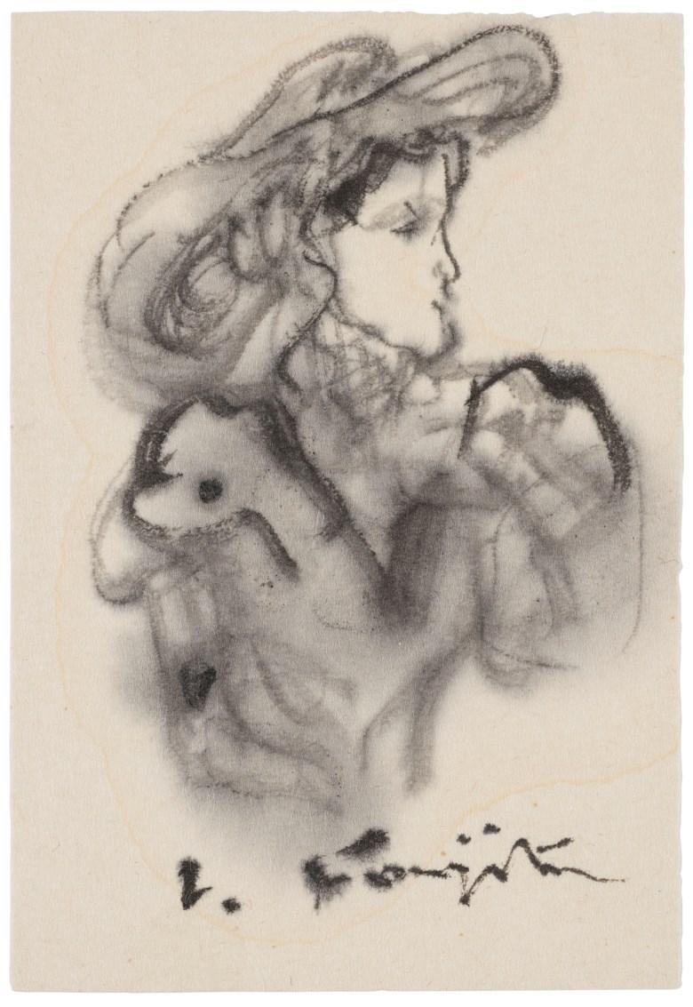 Léonard Tsuguharu Foujita, (1886-1968), Untitled (Elegante au Chapeau). Ink and ink wash on paper.12 x 8.3 cm (4¾ x 3¼ in). Estimate $1,500-2,500. Offered in  Contemporary Art Asia, Online, 19-26 March 2020