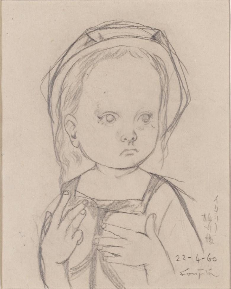 Léonard Tsuguharu Foujita, (1886-1968), Untitled (Filette au costume de marina), 1960. Lead on tracing paper.19 x 15 cm (7½ x 5⅞ in). Estimate $3,000-4,000. Offered in  Contemporary Art Asia,Online, 19-26 March 2020