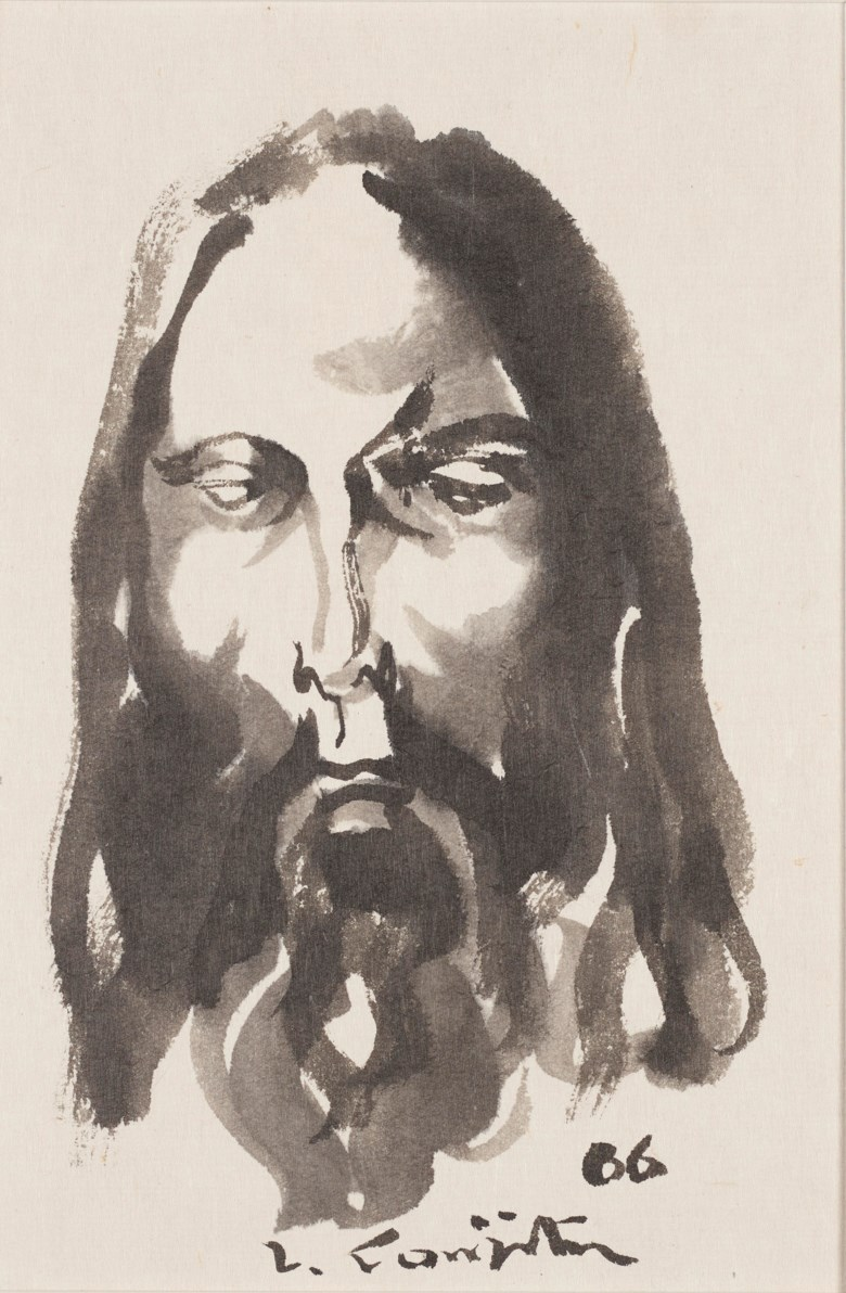 Léonard Tsuguharu Foujita (1886-1968), Untitled (Le Christ), 1966. Ink and ink wash on paper.25 x 17.5 cm (9⅞ x 6⅞ in). Estimate $2,000-3,000 Offered in  Contemporary Art Asia, Online, 19-26 March 2020