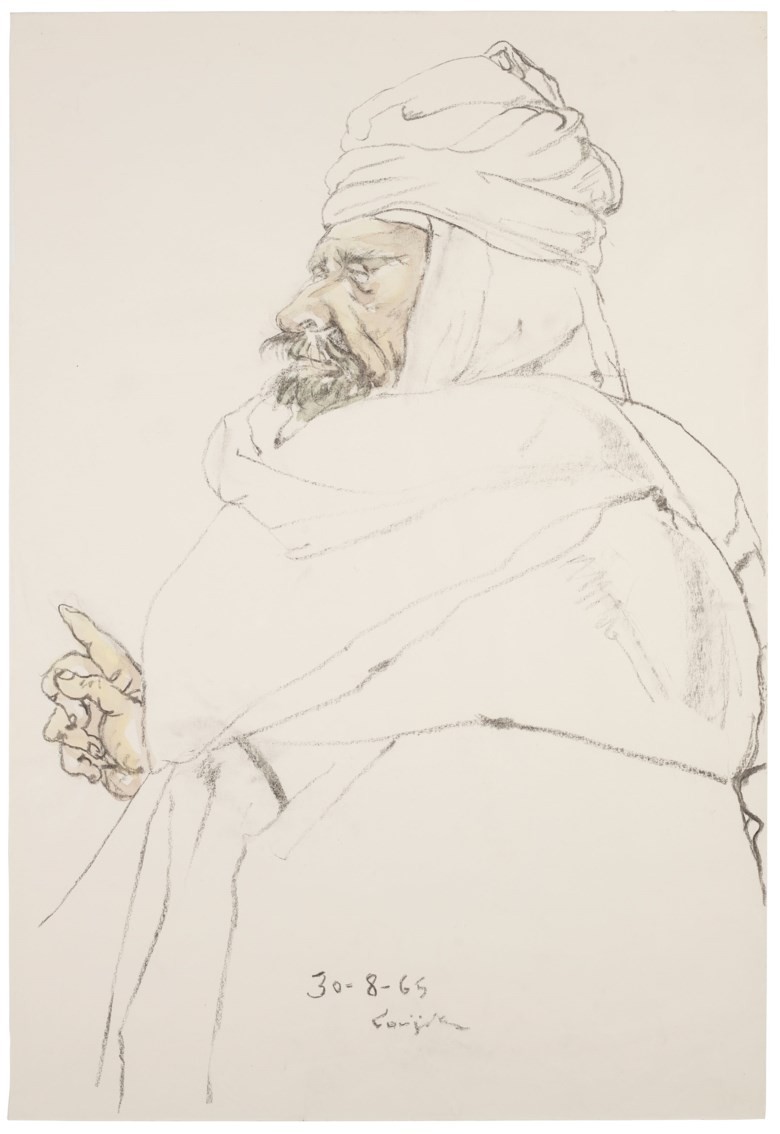 Léonard Tsuguharu Foujita (1886-1968), Untitled (Le sage), 1965. Watercolour and charcoal on paper.55.5 x 38.3 cm (21⅞ x 15⅛ in). Estimate $8,000-15,000. Offered in  Contemporary Art Asia, Online, 19-26 March 2020