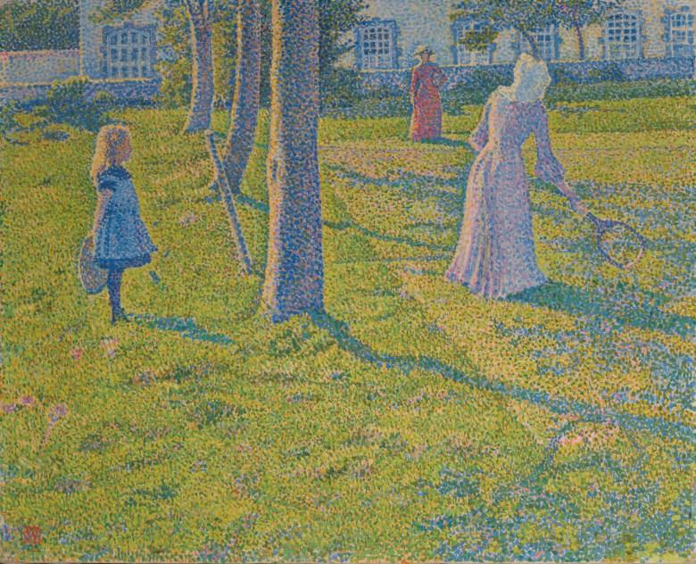 Théo van Rysselberghe (1862-1926), À Thuin ou La Partie de tennis, 1889. Oil on canvas. 21⅛ x 26¼ in (53.8 x 66.7 cm). Estimate €2,000,000-3,000,000. Offered in Art Impressionniste et Moderne on 4 June 2020 at Christie's in Paris