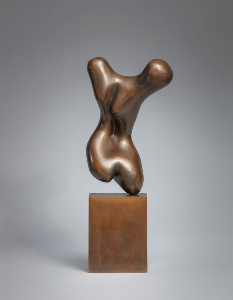 Jean (Hans) Arp (1886-1966), Torso, conceived in 1931; this bronze cast in 1976 in an edition of 6. Bronze with a gold brown patina. Height 46.5  cm. Estimate €300,000-500,000. Offered in Tribute to Arp - Greta Stroeh Collection on June 3 2020 at Christie's in Paris
