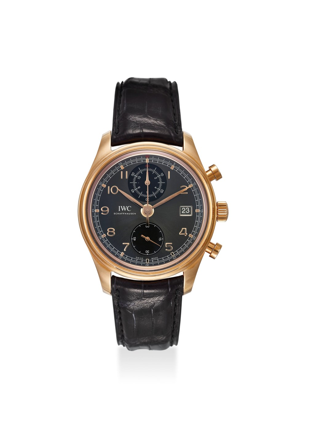 IWC. AN EXTREMELY FINE 18K ROSE GOLD CHRONOGRAPH AUTOMATIC WRISTWATCH WITH DATE, ORIGINAL CERTIFICATE AND BOX