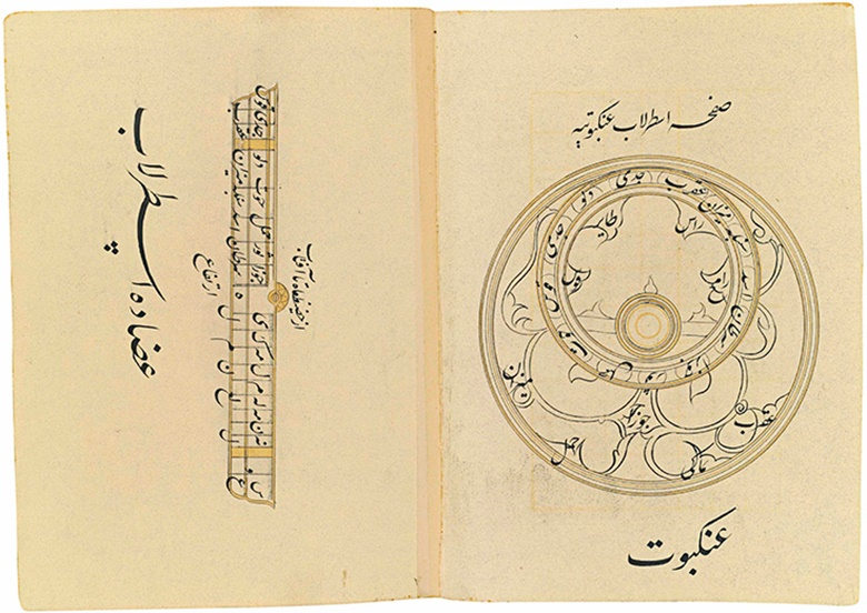 A manuscript on the workings of the astrolabe, Qajar, Iran, late 19th century. Text panel 5⅞ x 3½  in (14.9 x 8.9 cm); folio 8¼ x 5¾ in (21 x 14.6 cm). Sold for £10,000 on 23 April 2015 at Christie's in London