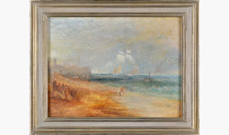 JMW Turner, View of the Beach at Margate. Framed in a traditional contoured profile with antique gilding effect. © John Jones London