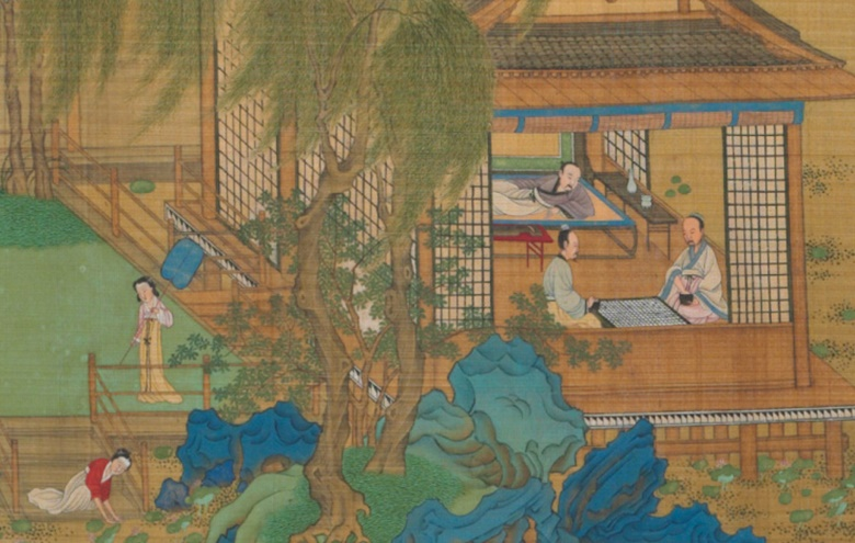 Attributed to Qiu Ying (circa 1495-1552), Immortals Playing Chess (detail). Handscroll, ink and colour on silk. Sold for $1,805,000 in the Fine Chinese Paintings sale on 16 September 2015 at Christie's in New York