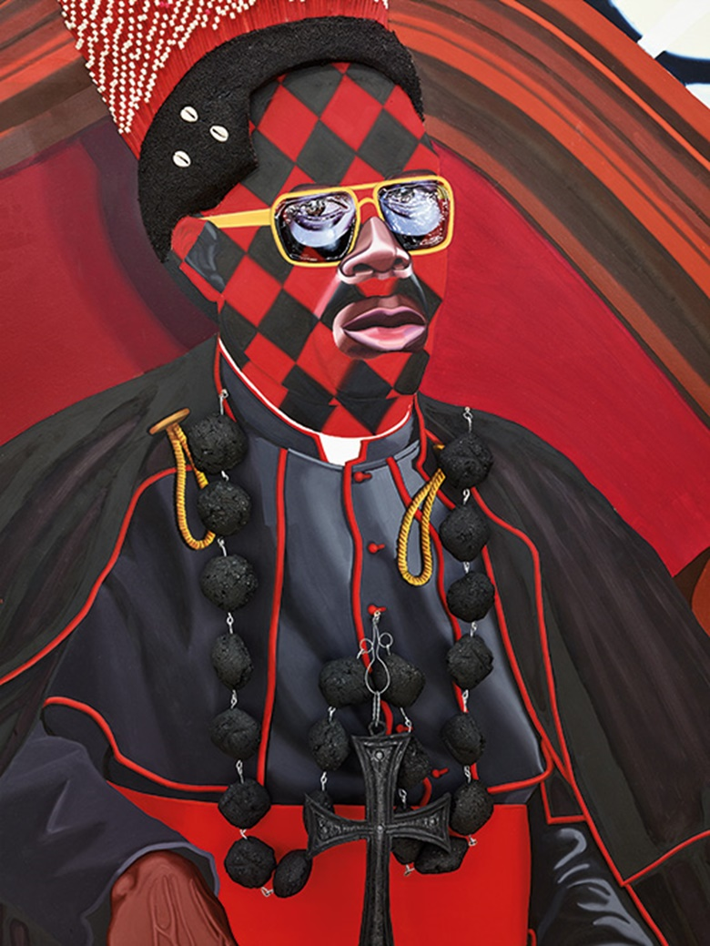 Jeff Sonhouse, Exhibit A Cardinal Francis Arinze, 2005 (detail). Oil and mixed media on wooden panel. 78 x 61 in (198.1 x 154.9 cm). Artwork © Jeff Sonhouse, courtesy of Tilton Gallery, New York